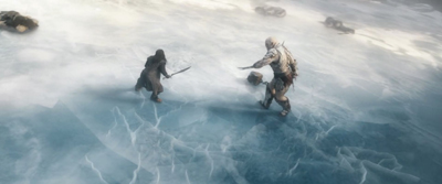 Beautiful shots,Thorin and Azog on ice lake at Ravenhill