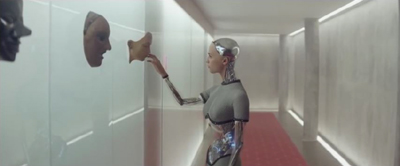 Ex Machina face touching in hallway