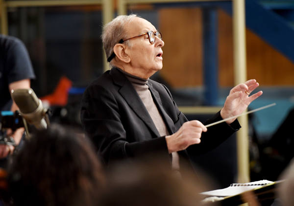 LONDON, ENGLAND - DECEMBER 08:  Composer Ennio Morricone is seen during a Live Recording for the H8ful Eight Soundtrack at Abbey Road Studios on December 8, 2015 in London, England.  (Photo by Kevin Mazur/Getty Images for Universal Music)