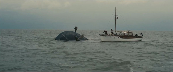 Sunk ship with survivor