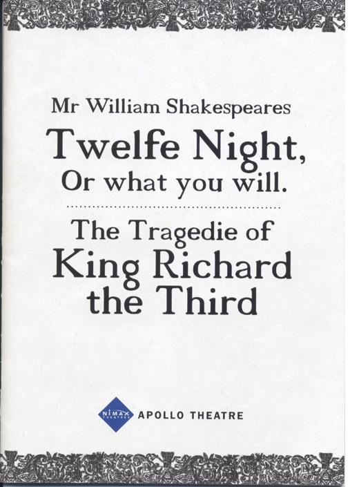 Twelfe Night programme